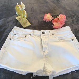 Free People White Denim Shorts Size 29